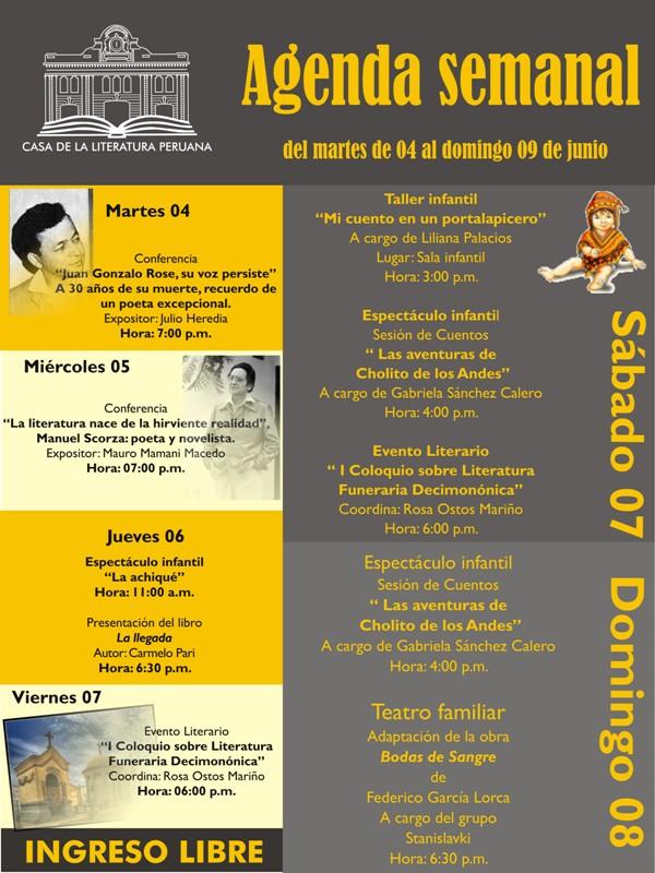 Casa de la Literatura Peruana 4 al 9 de Junio