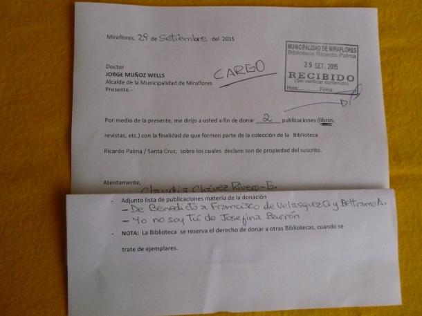 Carta donación 2 libros
