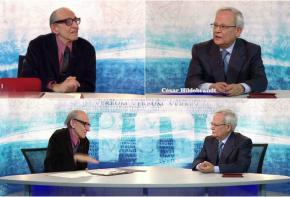 El periodista César Hildebrandt y el erudito peruano Marco Aurelio Denegri en el show de laconversación