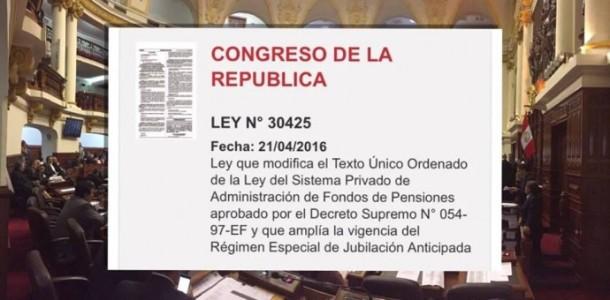 Retiro de fondos AFP Perú ley N°30425
