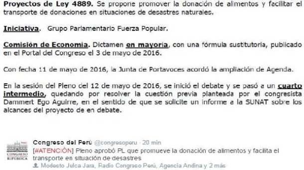 ley peruana en favor de donación de alimentos