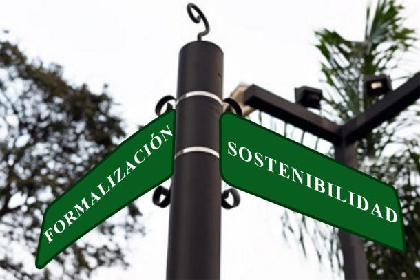 Letrero tipo calle intervenido y más grande FORMALIZACIÓN SOSTENIBILIDAD