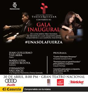 Asociación Cultural Teresa Quesada donará su taquilla de Gala en el Gran Teatro Nacional a damnificadosperuanos