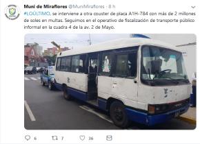 Municipalidad de Miraflores en su objetivo contra la informalidad, interviene microbuses que acumulaban multasmillonarias