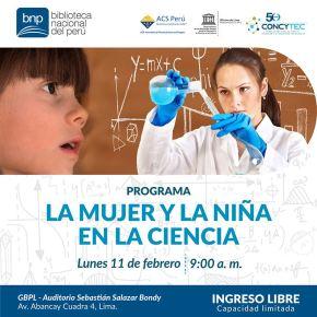 La mujer y la niña en la ciencia: Programa en la Gran Biblioteca Pública deLima