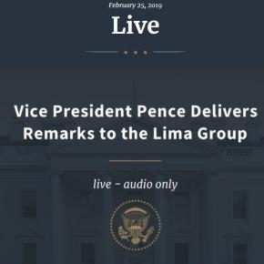 """Vice Presidente EE.UU. Pence ratifica palabras de Trump sobre Venezuela """"La Pelea por la libertad haempezado"""""""
