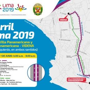 Restringen tránsito de carril izquierdo de Villa Panamericana V.E.S. hasta la VIDENA de San Luis: Sábado 1 de junio Primera Prueba del Carril Lima2019