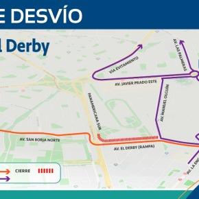 Restringen tránsito desde las intersecciones de avenidas Manuel Olguín y El Derby con dirección a la Panamericana Sur hasta el 26 dejunio
