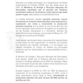 Comunicado oficial de Ecuador: Salen de la OPEP para incrementar su producción depetróleo
