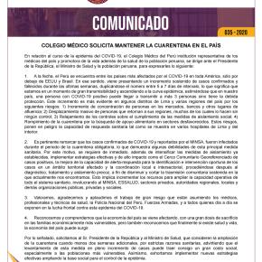 Mantener la cuarentena al menos dos semanas más en Perú, pide el Colegio Médico del Perú al gobierno y la opiniónpública