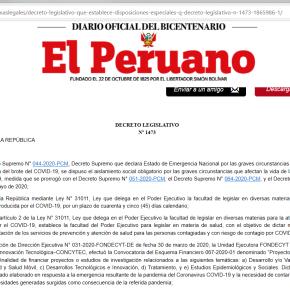 """Los """"Proyectos Especiales: Respuesta al COVID-19"""" del Concytec Perú por Decreto Legislativo 1473 establece transferencias financieras  para cofinanciamiento"""