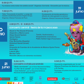 Fiesta de la Música 2020 con programación digital gratuita: Próximas presentaciones del 19 al 21 dejunio