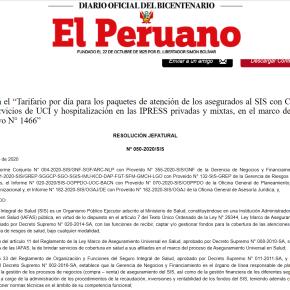 Por COVID 19 tarifa social por día de Cama de Cuidados Intensivos en sector privado de Perú cuesta 3,600 soles (mil dólares): Acuerdo del SIS Público y clínicasprivadas