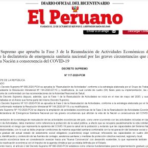 Fase 3 de Reanudación Actividades Económicas en el marco de Emergencia Sanitaria Nacional por pandemia COVID 19: Gobierno peruano publica el DecretoSupremo