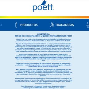 """Limpiadores """"Poett"""" en Perú están contaminados con bacteria pseudomona: Clorox comunicó retiro de losproductos"""