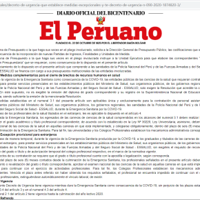 Por crisis sanitaria COVID 19 en Perú: Gobierno puede contratar médicos no colegiados nacionales y extranjeros, egresados y bachilleres sin diploma de grado, ni registroSunedu