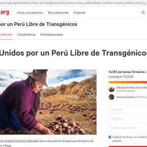 Unidos por un Perú libre de transgénicos: Campaña en Change.org para ampliar prohibición de ingreso de semillas transgénicas en Perú como pocos países en elmundo