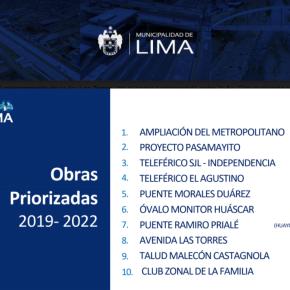 Concejo Metropolitano de Lima tiene 10 proyectos de obras de inversión comoprioridad
