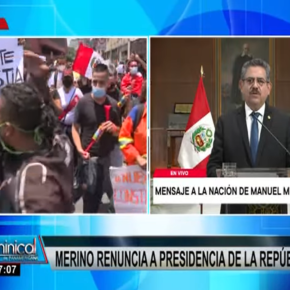 """Tras renuncia de Manuel Merino a la presidencia transitoria debido a protestas de marchas, Perú enfrenta hora crucial de crisis política entre componendas políticas y tecnicismos de """"vacancia presidencial"""""""