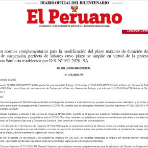 Trabajadores peruanos pueden continuar en suspensión perfecta por emergencia nacional COVID 19 hasta el 5 de abril del 2021 según Resolución Ministerial N°315-2020-TR