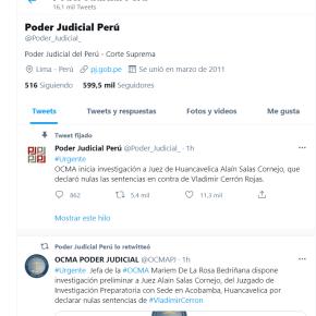 La absolución de Vladimir Cerrón, dueño del partido Perú Libre, con dos sentencias, en su plan de asumir cargo político con Pedro Castillo para conseguir hacer de Perú un país pro terrorista al estilo de Venezuela: Freno de la OCMA a juez de Huancavelica pornulidad