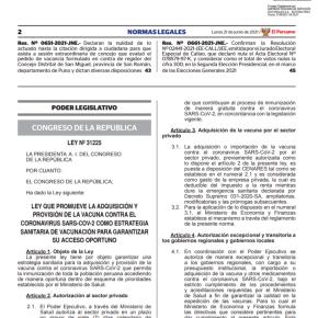 Cámara de Comercio de Lima pide que reglamento de Ley Nº 31225 que autoriza al sector privado compre vacunas COVID 19 aclare vacíos legales como los registros sanitarios deDigemid