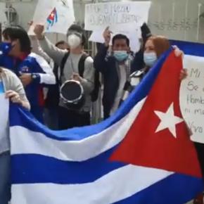 Ciudadanos cubanos en el mundo respaldan protestas contra la dictadura en Cuba que trae injusticia, pobreza económica y desastroso servicio desalud
