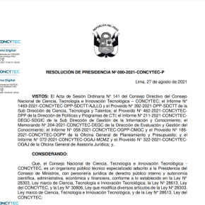 El Concytec de Perú aprobó y publicó nuevo Reglamento de Calificación, Clasificación y Registro de los investigadores del Sistema Nacional de Ciencia, Tecnología e Innovación Tecnológica –RENACYT