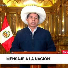 Presidente de Perú, Pedro Castillo, en su mensaje a la nación no se aparta de ministros y funcionarios probadamente filo terroristas y corruptos. Anuncia la entrega de bonos, instalación de planta de vacunas rusas Sputnik y la crisis económica crece más cada día aparte de marginal motivoexterno